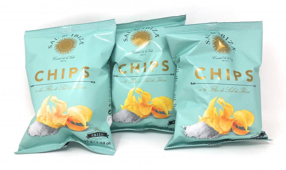(3er Set) Sal de Ibiza Chips a la Flor de Sal de Ibiza 3x45g Beutel = 135g