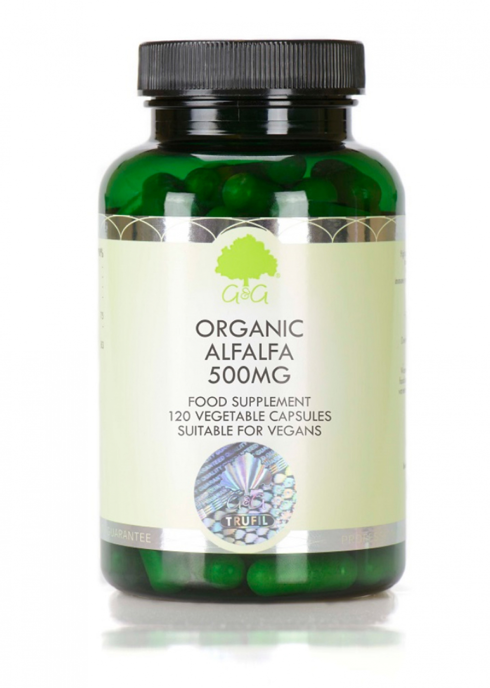 G&G Vitamins Organic Alfalfa 500mg (Bio-Luzerne) 120 veg. Kapseln (74,4g)(GB-ORG-05)