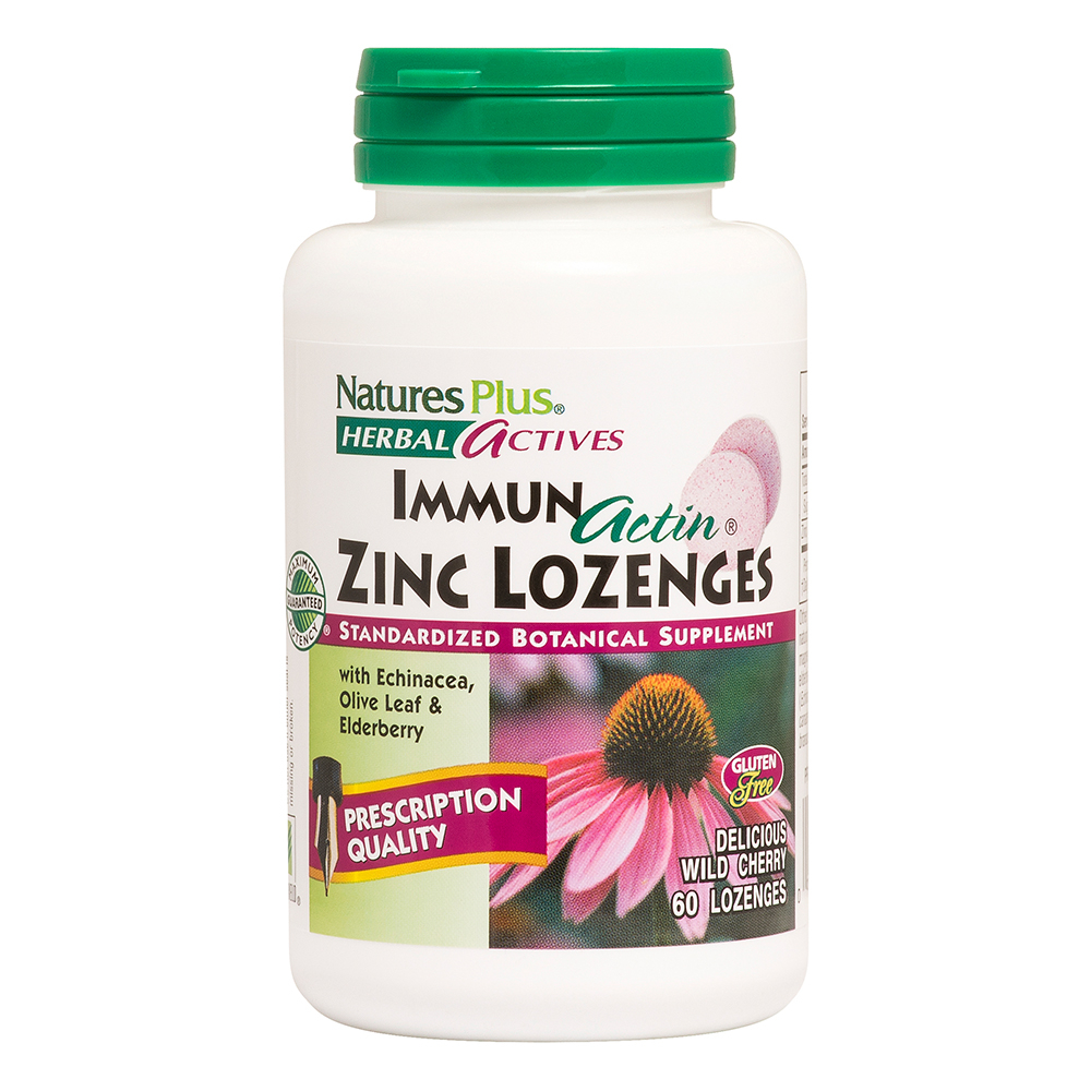 Natures Plus Herbal Actives ImmunActin® Zinc Lozenges 60 Lutschtabletten (vegan)