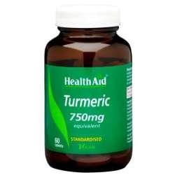 Health Aid Turmeric 750mg (Curcumin /Gelbwurz) 60 Tabletten (vegan)