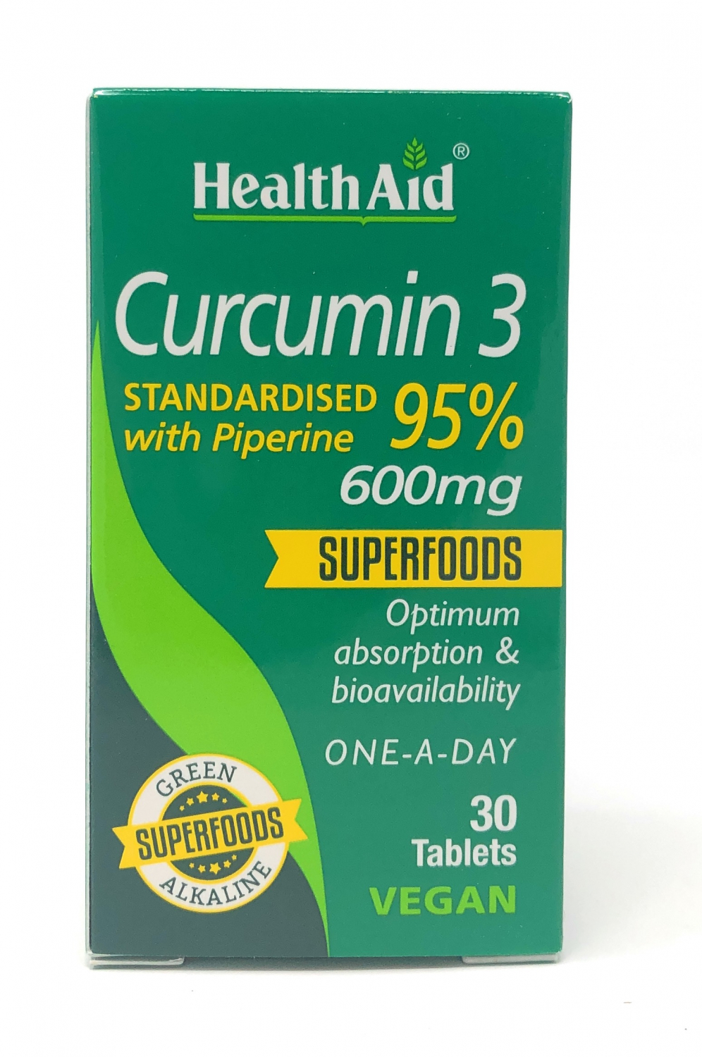 HealthAid Curcumin 3 600mg (Standardised 95% with Piperine) 30 Tabletten (vegan)