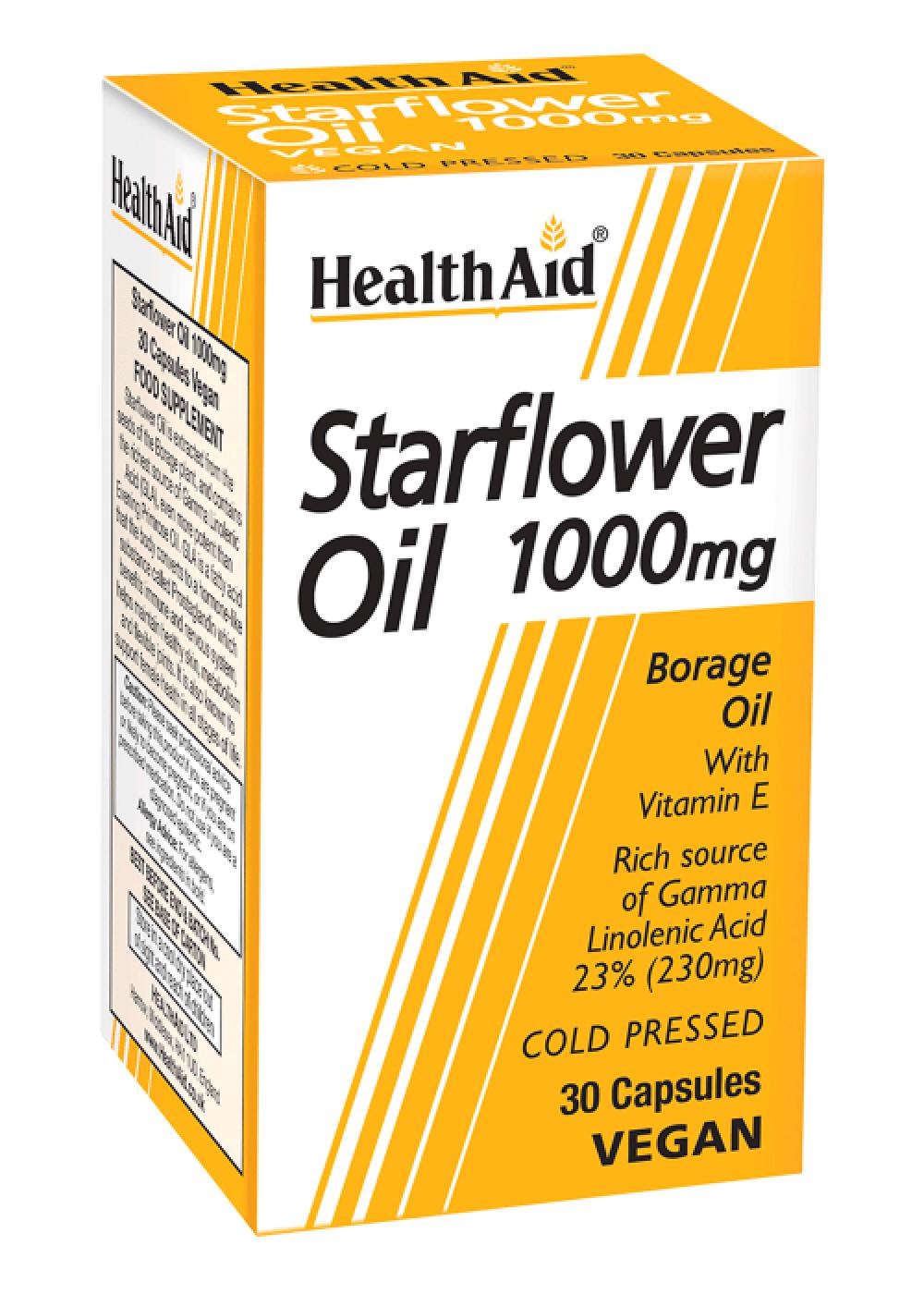 HealthAid Starflower Oil 1000mg (23% GLA) (Borretschöl) 30 Kapseln (vegan)