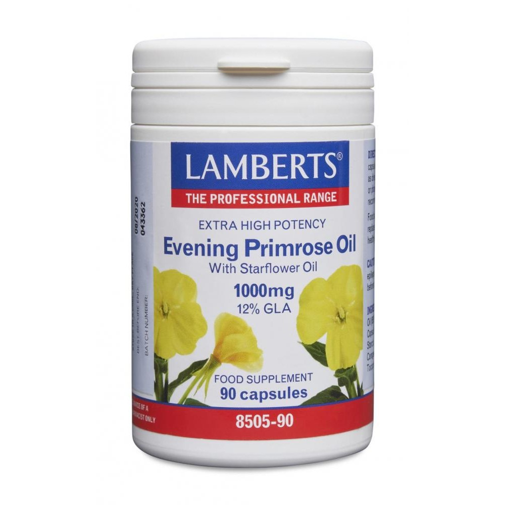 Lamberts Healthcare Ltd. Evening Primrose Oil with Starflower Oil 1000mg 12% GLA 90 Softgels