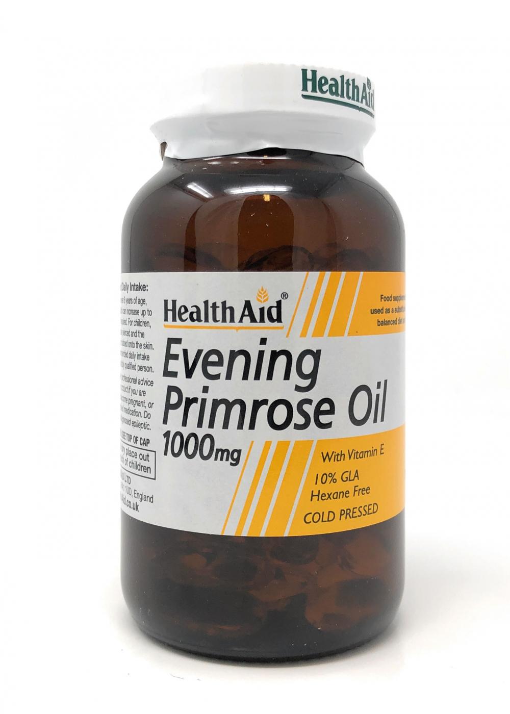 HealthAid Evening Primrose Oil 1000mg (Nachtkerzenöl) + Vitamin E 90 Weichgelatine-Kapseln