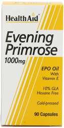 Health Aid Evening Primrose Oil 1000mg (Nachtkerzenöl) + Vitamin E 90 Weichgelatine-Kapseln
