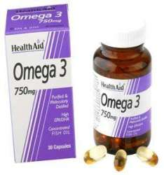 Health Aid Omega 3 750mg (EPA 425mg, DHA 325mg) 60 Softgels