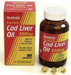 Health Aid Cod Liver Oil 550mg (Dorsch-Lebertran) 180 Kapseln
