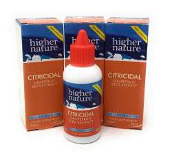 Higher Nature Citricidal Bio-Grapefruitkern-Extrakt (vegan) 3 x 45ml Flasche (vegan) 3er Pack