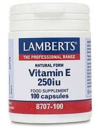 Lamberts Natural Form Vitamin E 250iu 100 Softgels LB