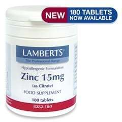 Zinc [Zink] 15mg (as Citrate) 180 Tabl. LB