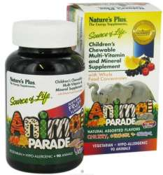 Natures Plus Source of Life® Animal Parade® Multivitamin gemischter Geschmack 90 Kautabletten (174,4g)