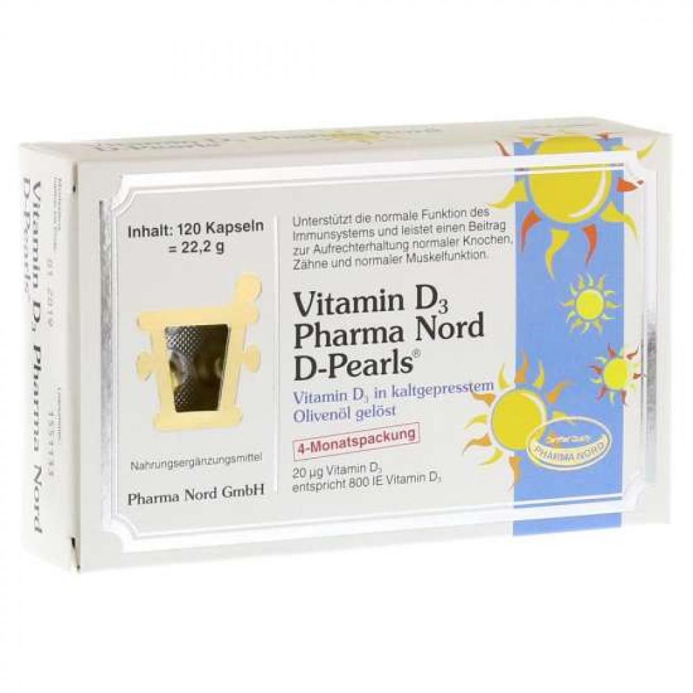 PharmaNord Vitamin D3 (D-Pearls) 20mcg120 Kapseln (22,2g)