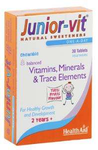 Health Aid JuniorVit™ - Chewable (Tutti-fruity Flavour) (Age 2 plus) Blisterverpackung 30 Tabletten