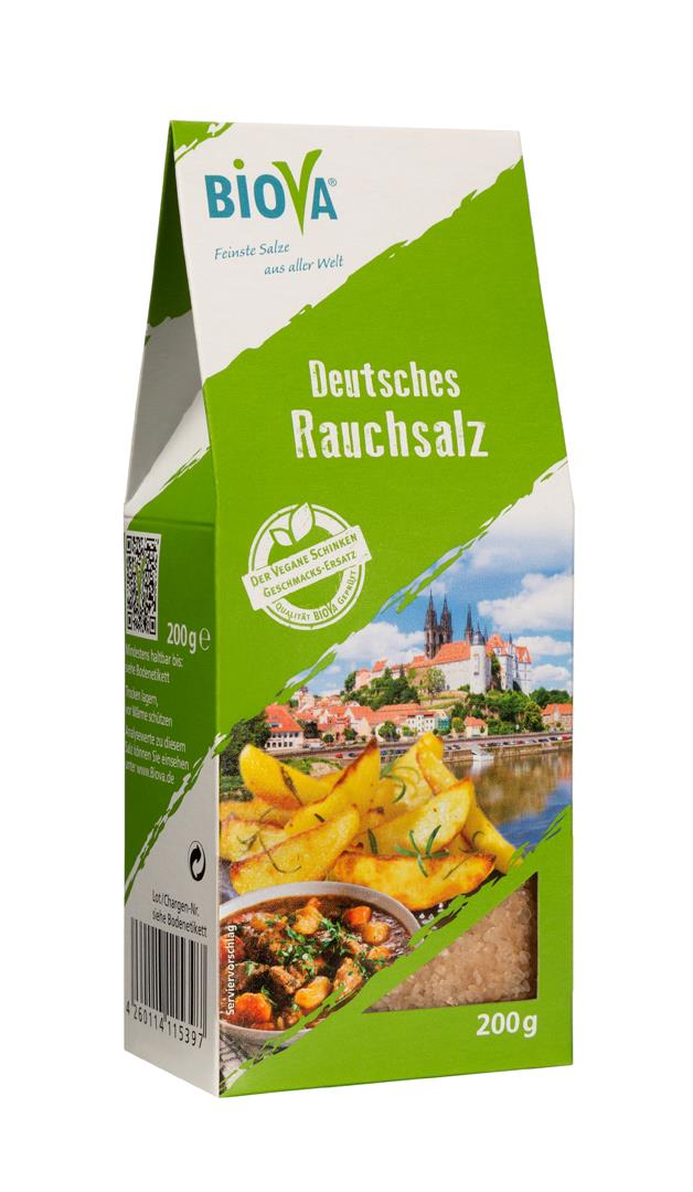 Biova Gourmetsalz Deutsches Rauchsalz Granulat 1,6-4mm 200g Faltschachtel