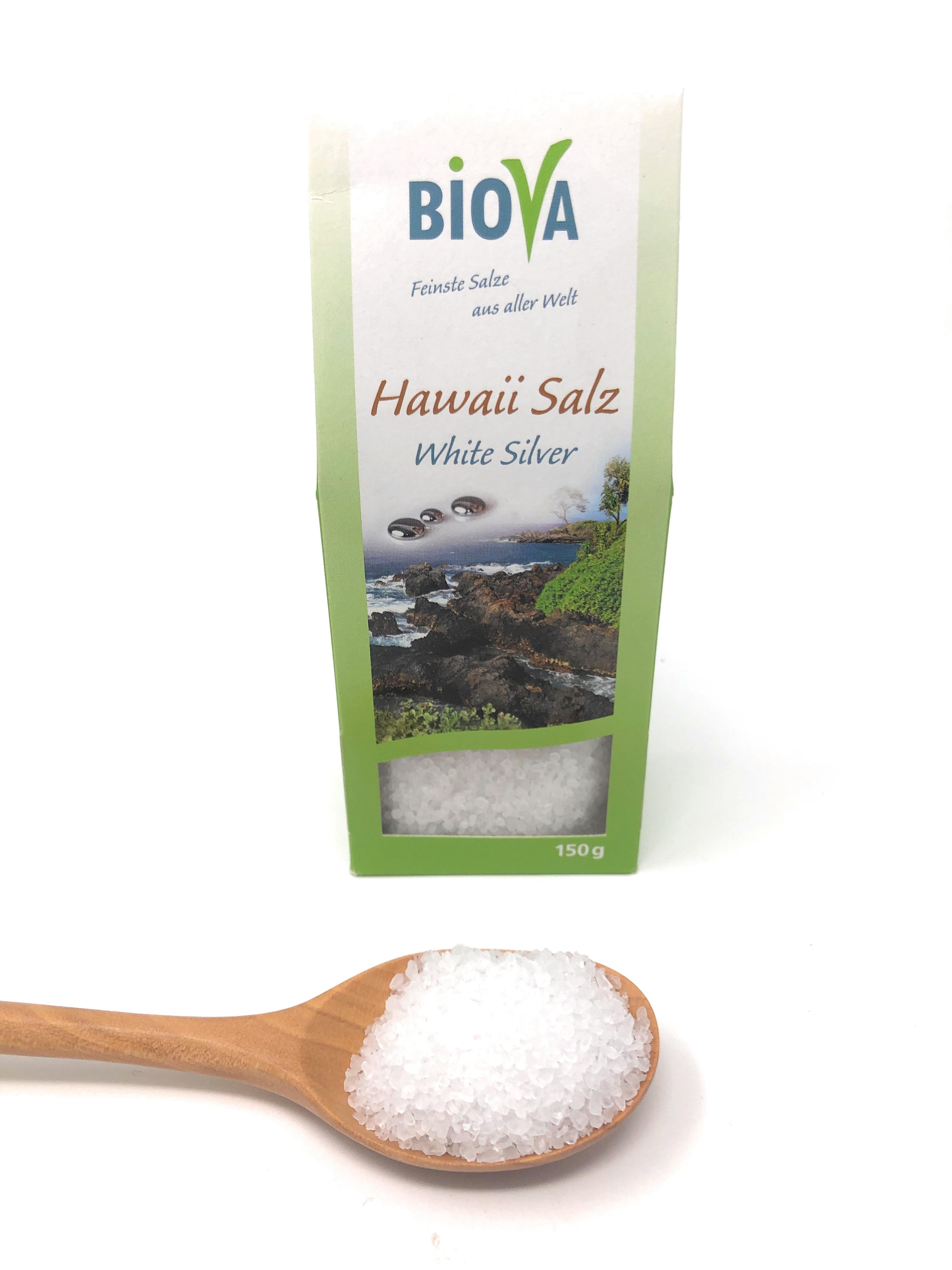 Biova Gourmetsalz Hawaii Salz weiß White Silver 1-2mm 150g Faltschachtel