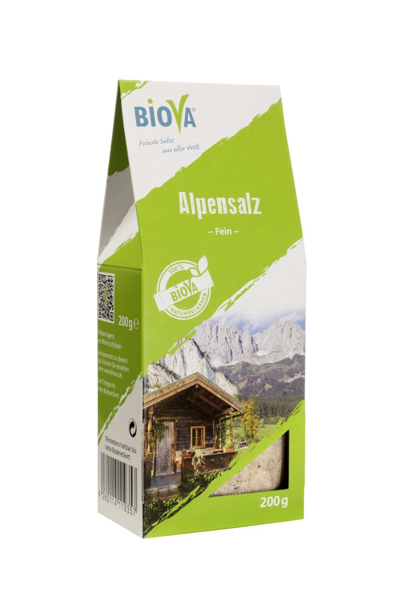 Biova Gourmetsalz Alpensalz - Bergkern fein  0,5-1mm 200g Faltschachtel