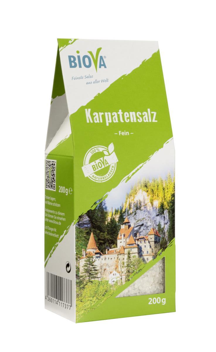 Biova Gourmetsalz Karpatensalz fein 0,1-2,0mm 200g Packung