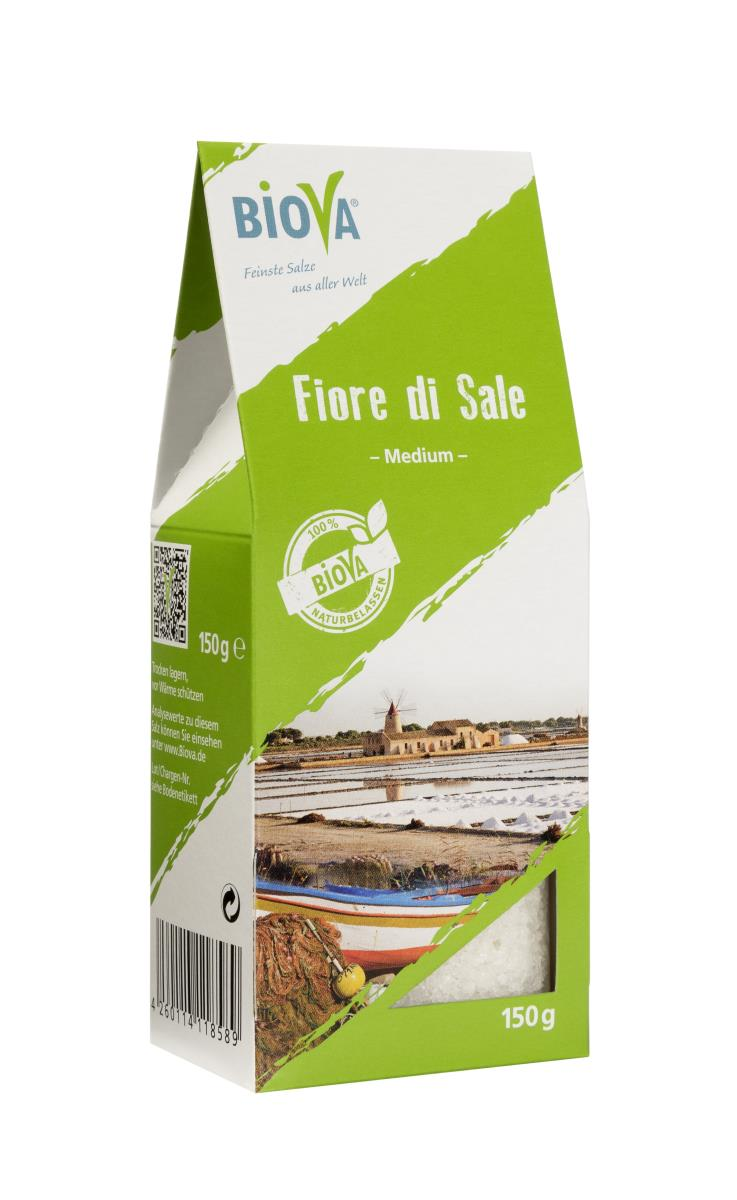 Biova Gourmetsalz Fiore di Sale di Sicilia 0,5-2mm (Fleur de Sel Salz aus Sizilien) 150g Faltschachtel