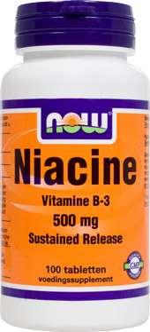 NOW Foods Niacine [Vitamin B3] 500mg 100 Tabletten S/R (verz. Freisetzung)