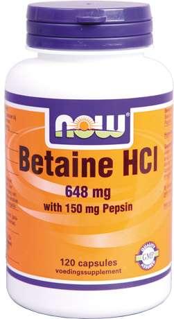 NOW Foods BETAIN HCl mit Pepsin 120 Kapseln