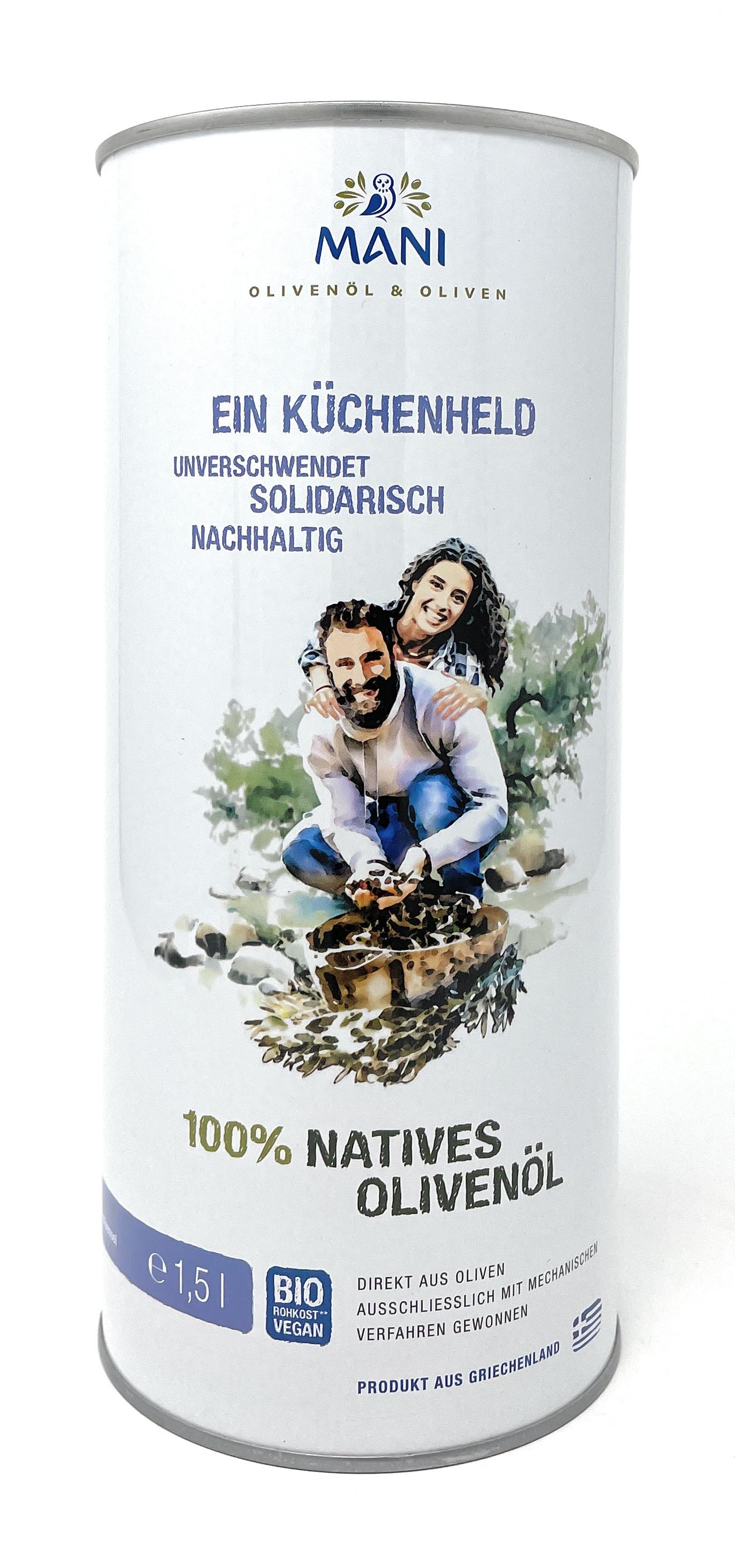 Mani Bläuel 100% Natives Bio-Olivenöl  Küchenheld 1,5l Dose(vegan)