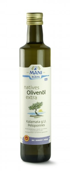 MANI Bio Olivenöl nativ extra, Kalamata g.U. Pelepones 500ml Flasche