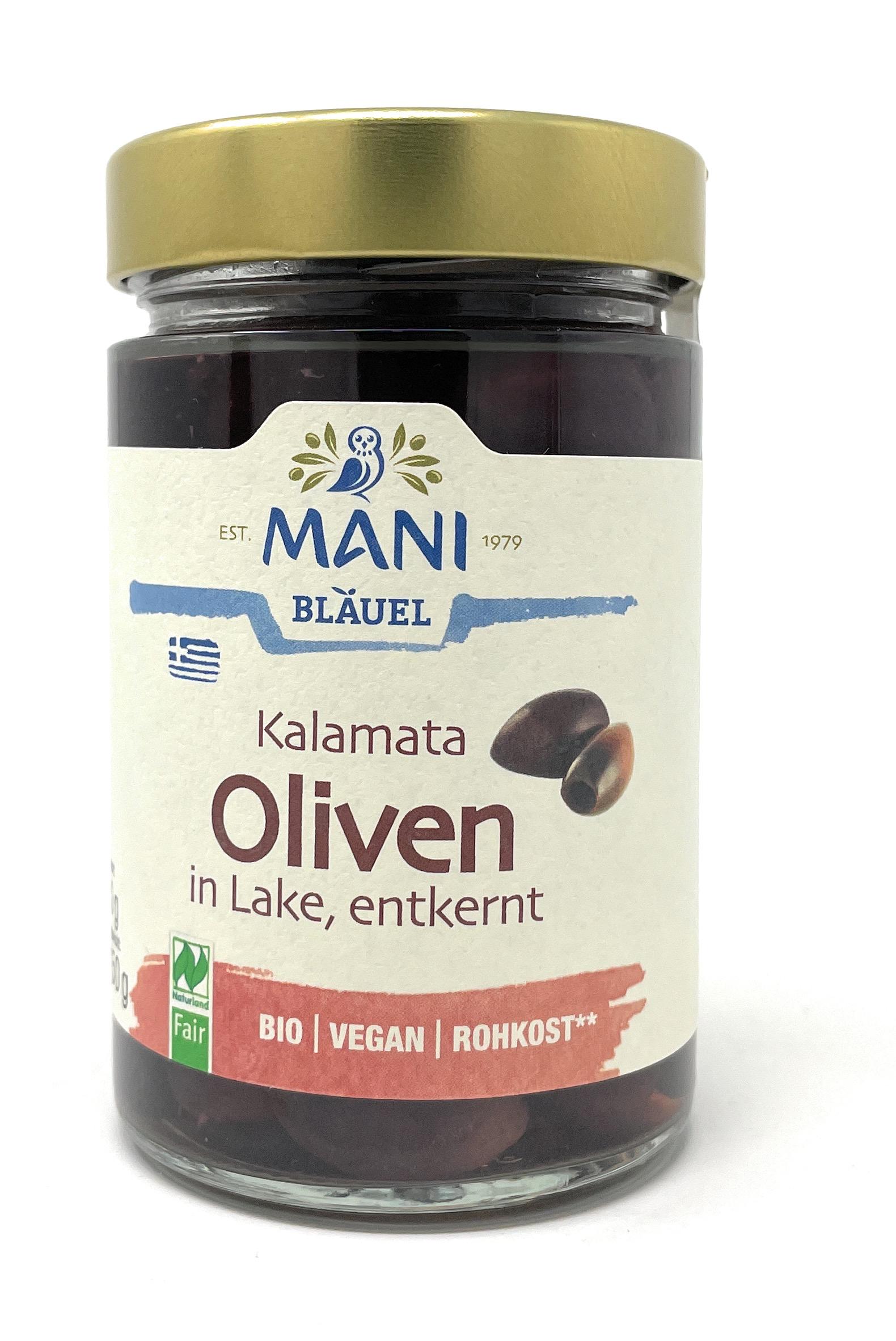 Mani Bläuel Bio Kalamata Oliven entkernt in Lake 150g (vegan)
