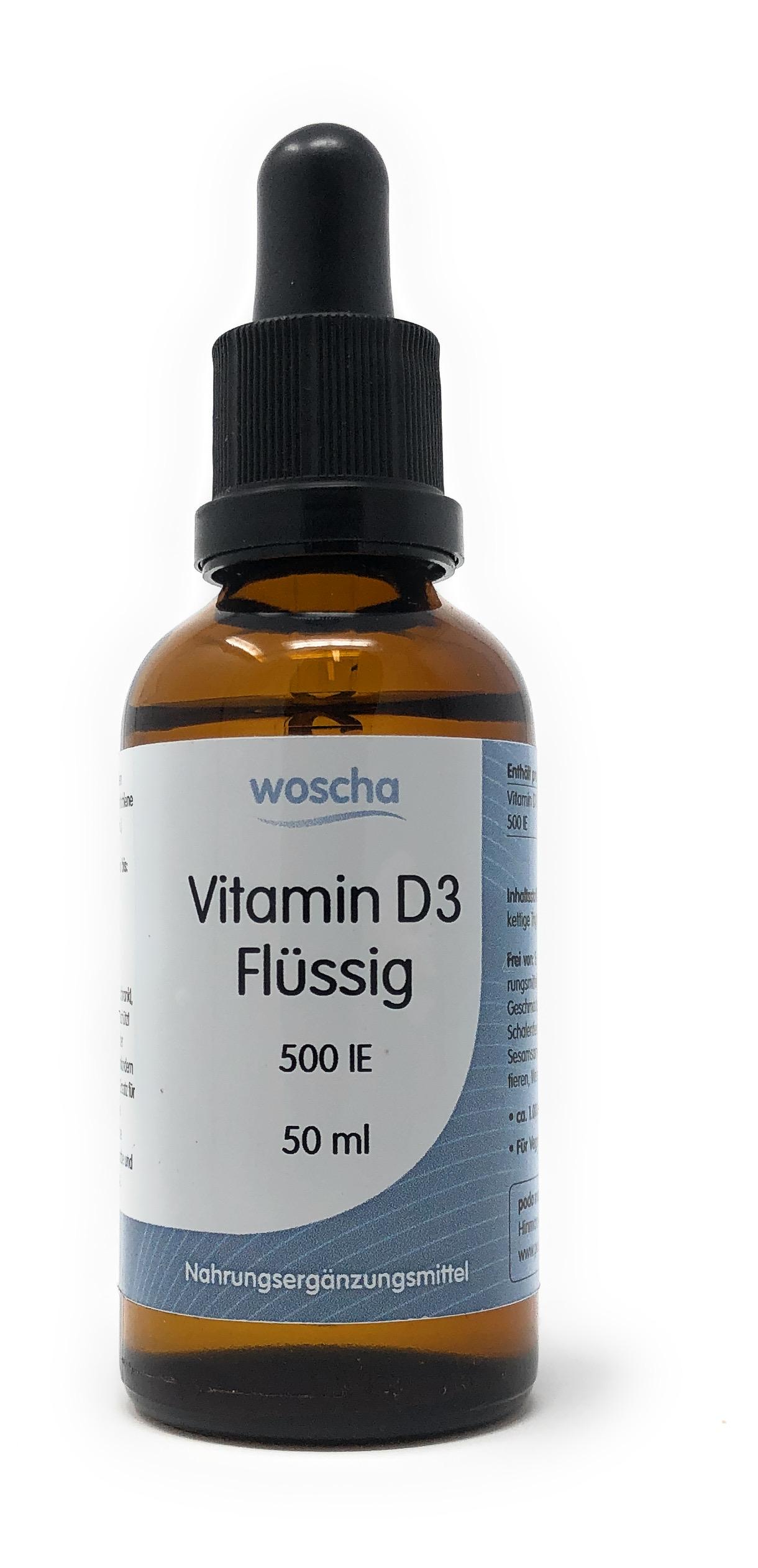 woscha Vitamin D3 Flüssig 500IE 50ml (ca. 1000 Tropfen)