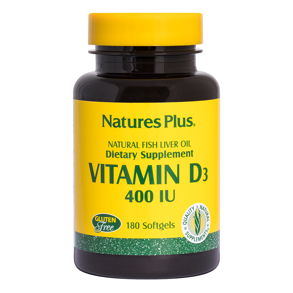 Natures Plus Vitamin D3 400 IE aus Fischleberöl 180 Softgels (38,2g)