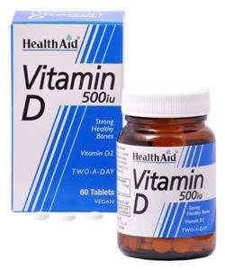 Health Aid [2er PACK] | Vitamin D 500 I.E. 60 Tabletten | 2x60 Tabletten