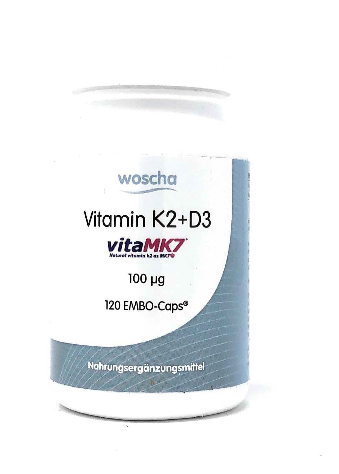 woscha Vitamin K2+D3 vitaMK7 100mcg 120 EMBO-CAPS® (72g)