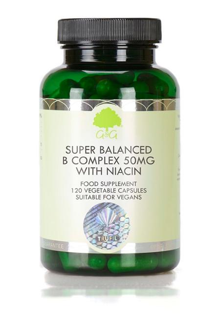G&G Vitamins Super Balanced Vitamin B Complex 50mg with Niacin 120 veg. Kapseln  (53,6g) (vegan)