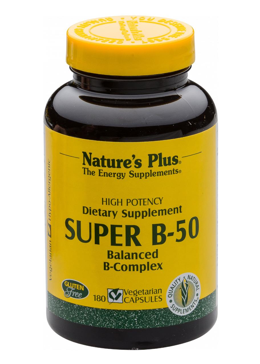 Natures Plus Super B-50 Vitamin B-Komplex 180 veg. Kapseln (129,3g)