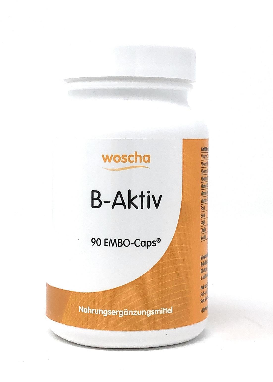 woscha B-Aktiv (aktiver B-Komplex mit Vitamin C) 90 Embo-Caps (74g)(vegan)