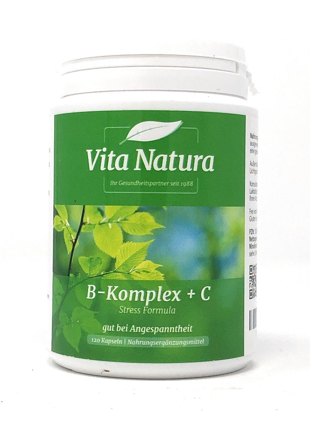 Vita Natura Vitamin B-Komplex plus C 120 veg. Kapseln (83,8g)