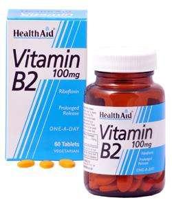 Health Aid Vitamin B2 (Riboflavin) 100mg S/R (verz. Freisetzung) 60 Tabletten (vegan)