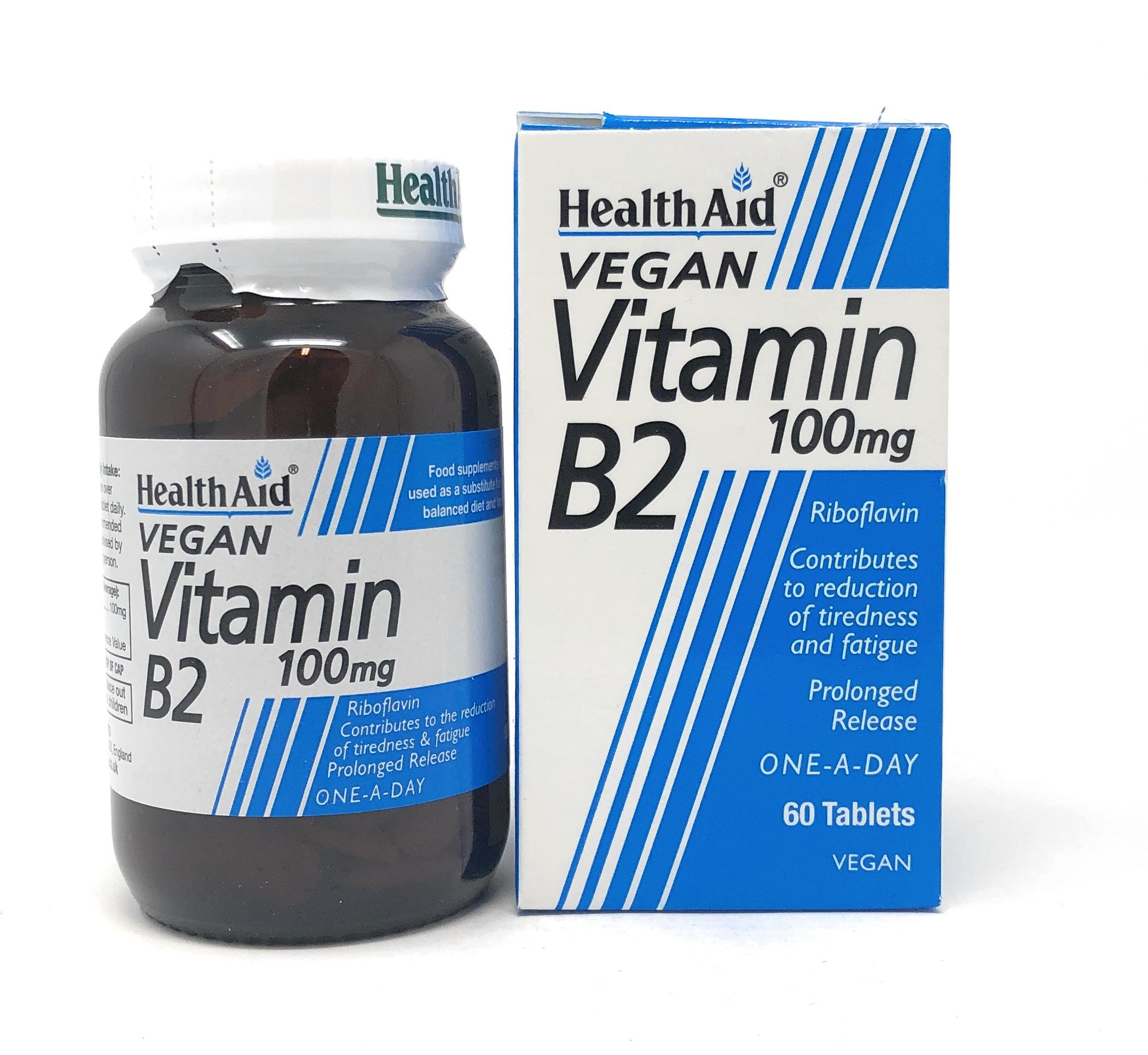 HealthAid Vitamin B2 (Riboflavin) 100mg S/R (verz. Freisetzung) 60 Tabletten (vegan)
