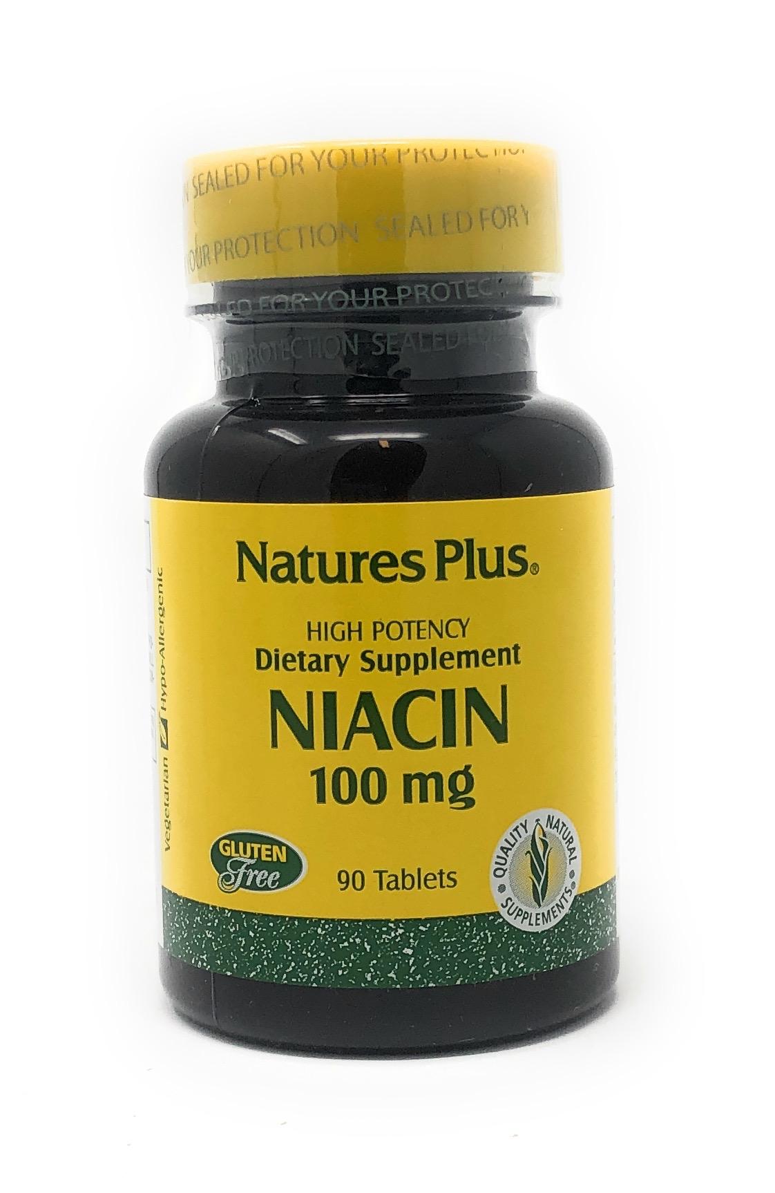 Natures Plus Niacin (Vitamin B-3) 100mg 90 Tabletten (25,3g)
