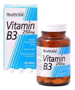 HealthAid Vitamin B3 (Niacinamide) 250mg S/R (verz. Freisetzung) 90 Tabletten