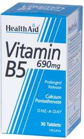 Health Aid Vitamin B5 (Calcium Pantothenat) 690mg S/R (verz. Freisetzung) 30 veg. Tabletten (vegan)