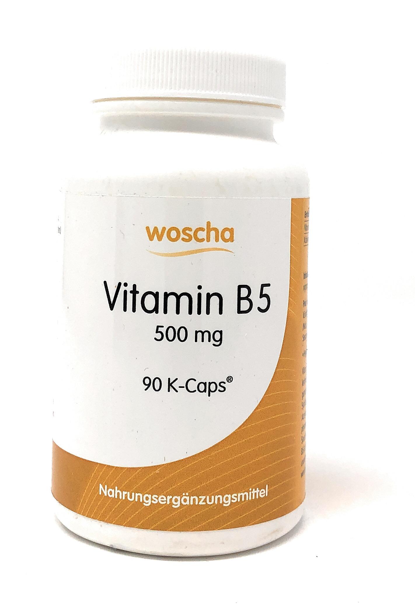 woscha Vitamin B5 500mg 90 Embo-Caps (75g) (vegan)