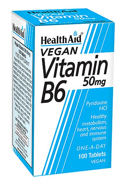 HealthAid Vitamin B6 (Pyridoxine HCl) 50mg 100 Tabletten (vegan)