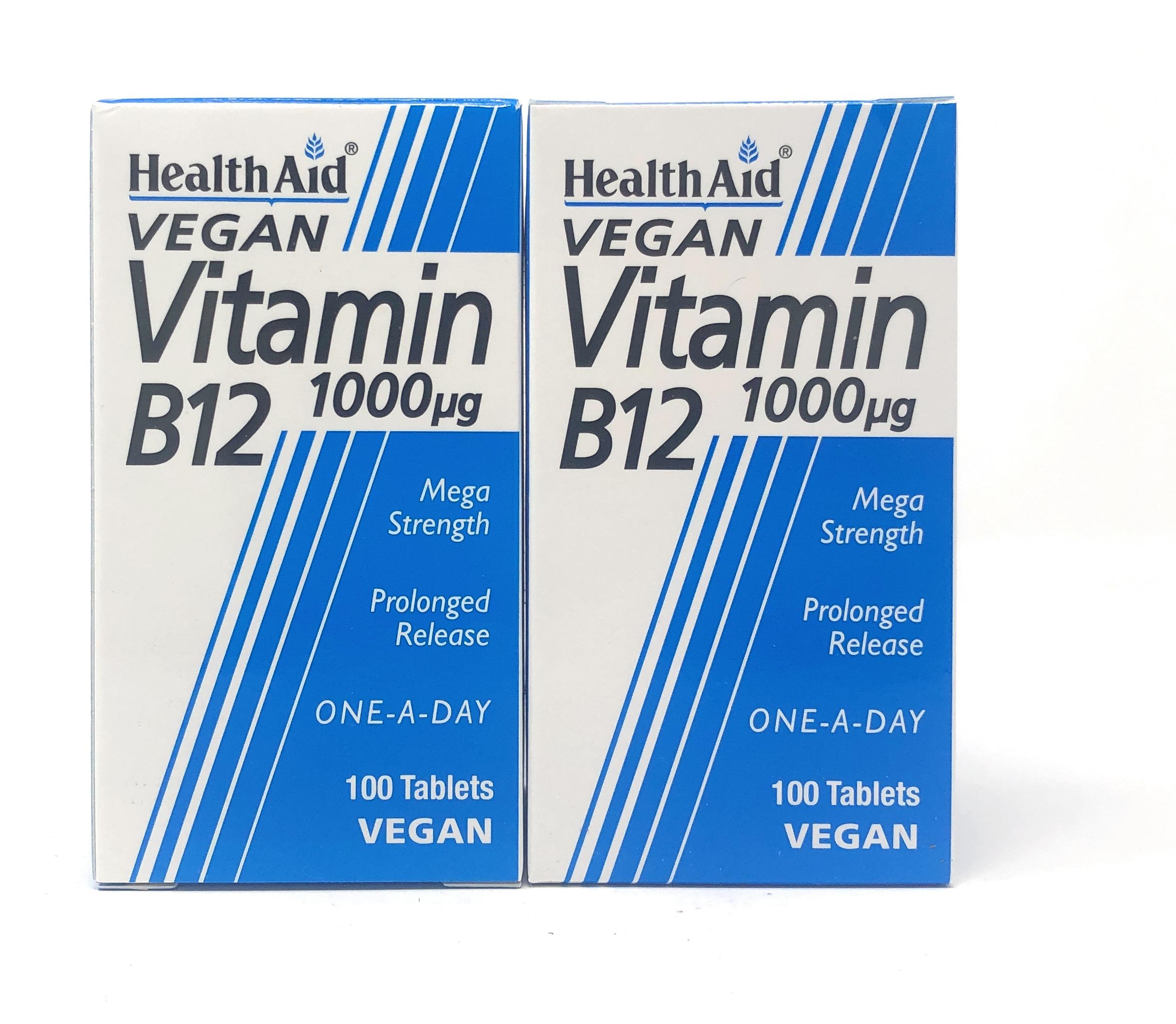 (2er Bundle) HealthAid Vitamin B12 (Cyanocobalamin) 1000µg 100 veg. Tabletten S/R (vegan) | 2x100 Tabletten