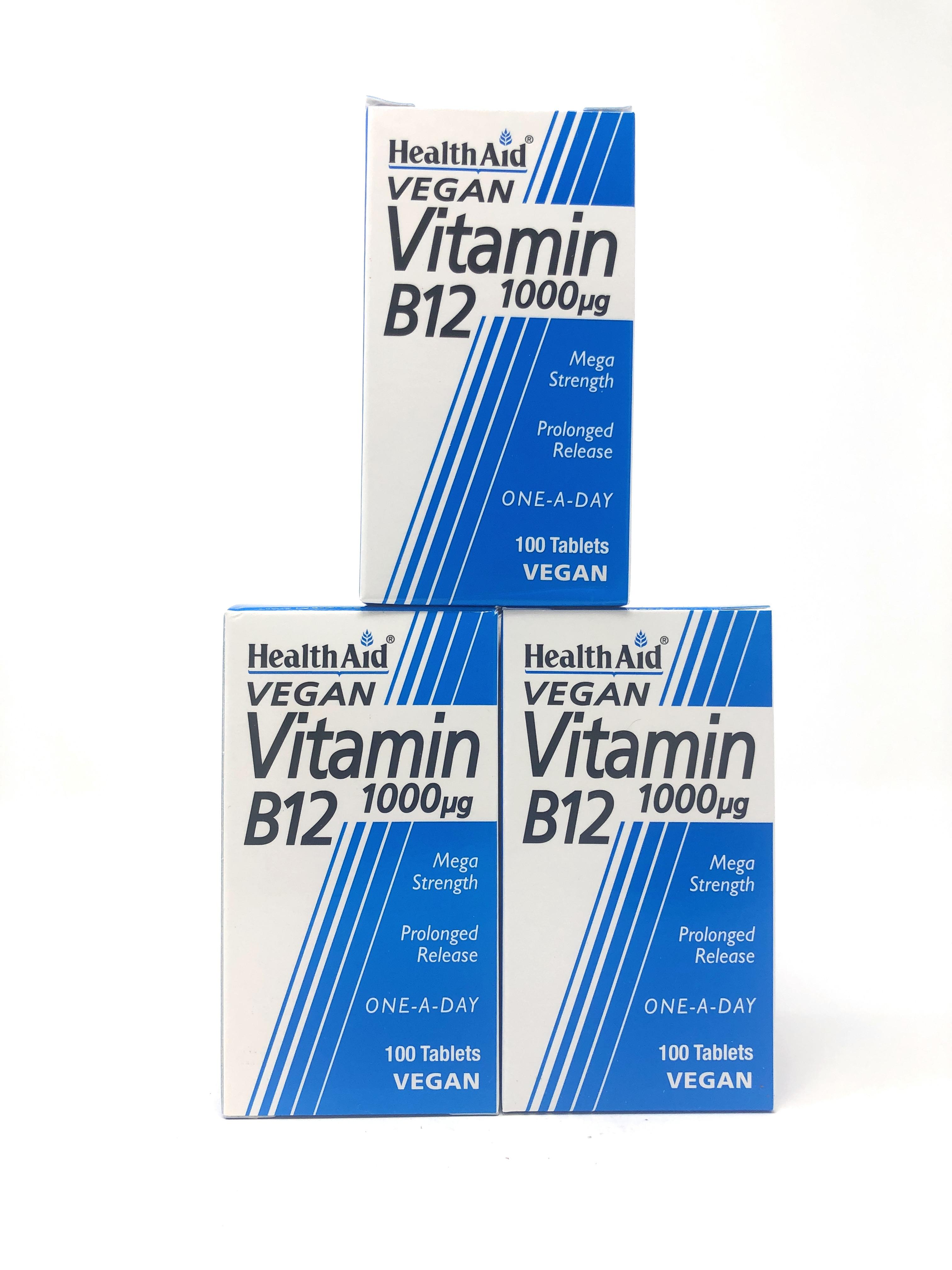 (3er Bundle) HealthAid Vitamin B12 (Cyanocobalamin) 1000µg 100 veg. Tabletten S/R (vegan) | 3x100 Tabletten