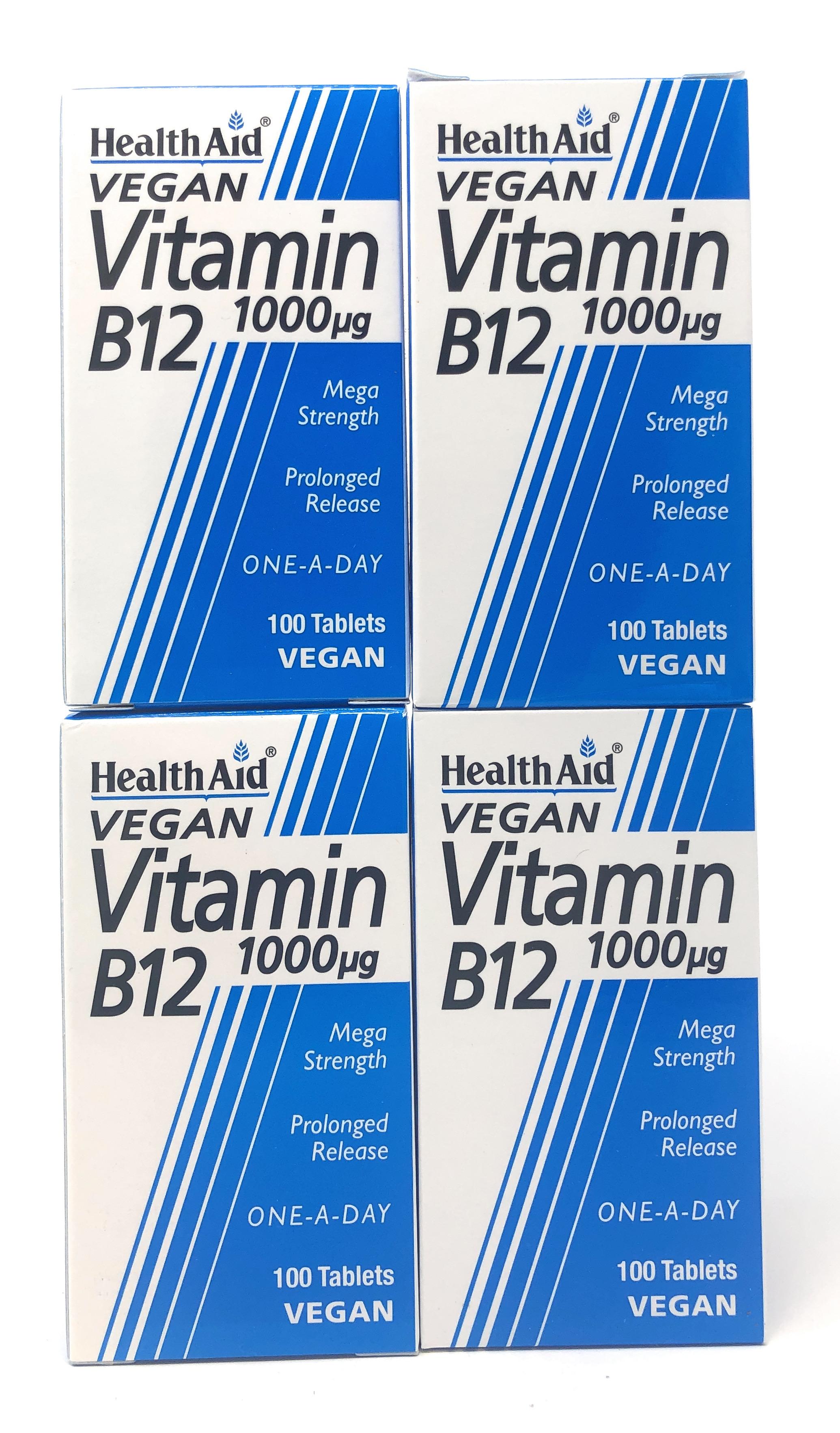 (4er Bundle) HealthAid Vitamin B12 (Cyanocobalamin) 1000µg 100 veg. Tabletten S/R (vegan) | 4x100 Tabletten