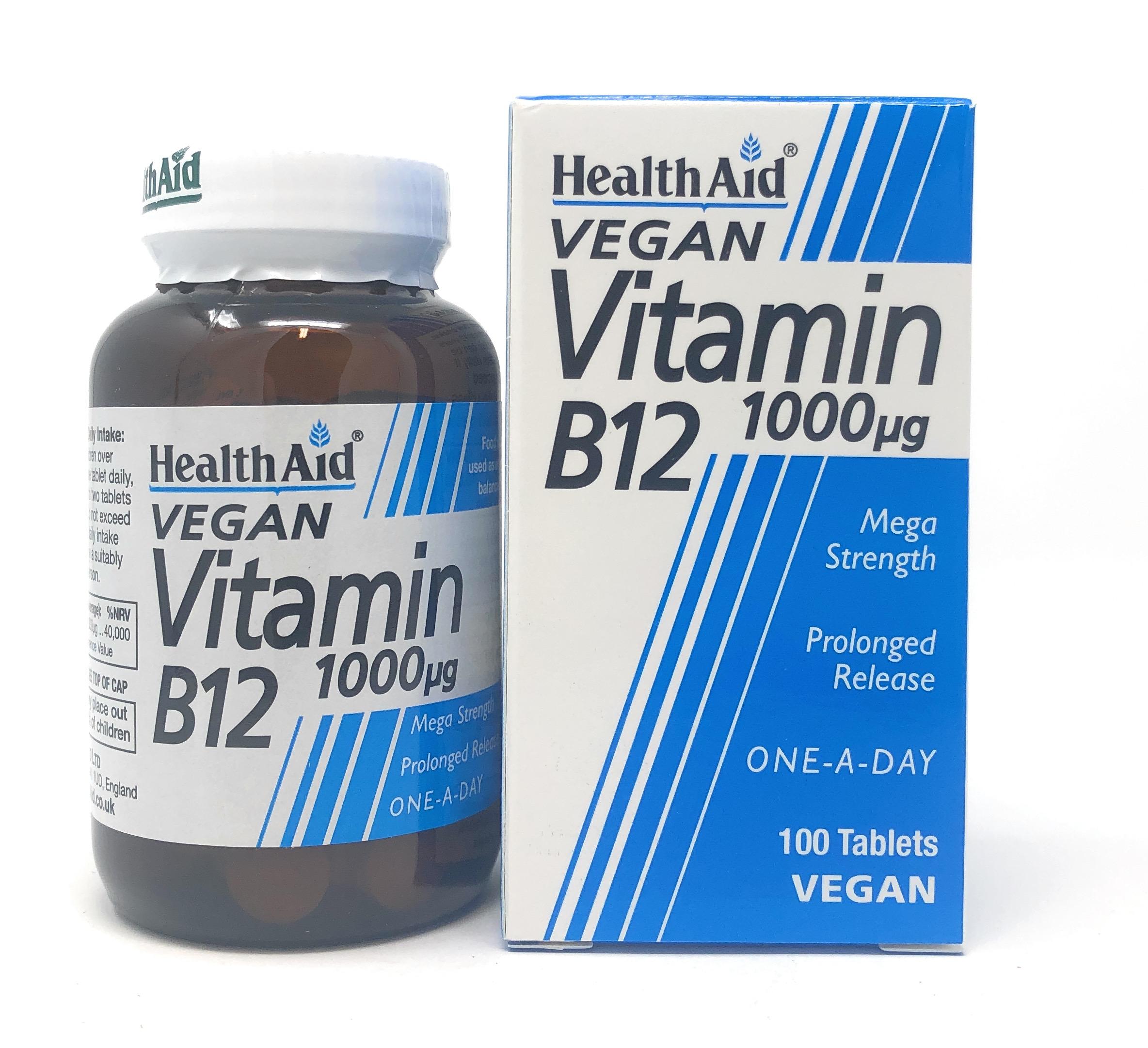 HealthAid Vitamin B12 (Cyanocobalamin) 1000mcg 100 veg. Tabletten S/R (vegan)