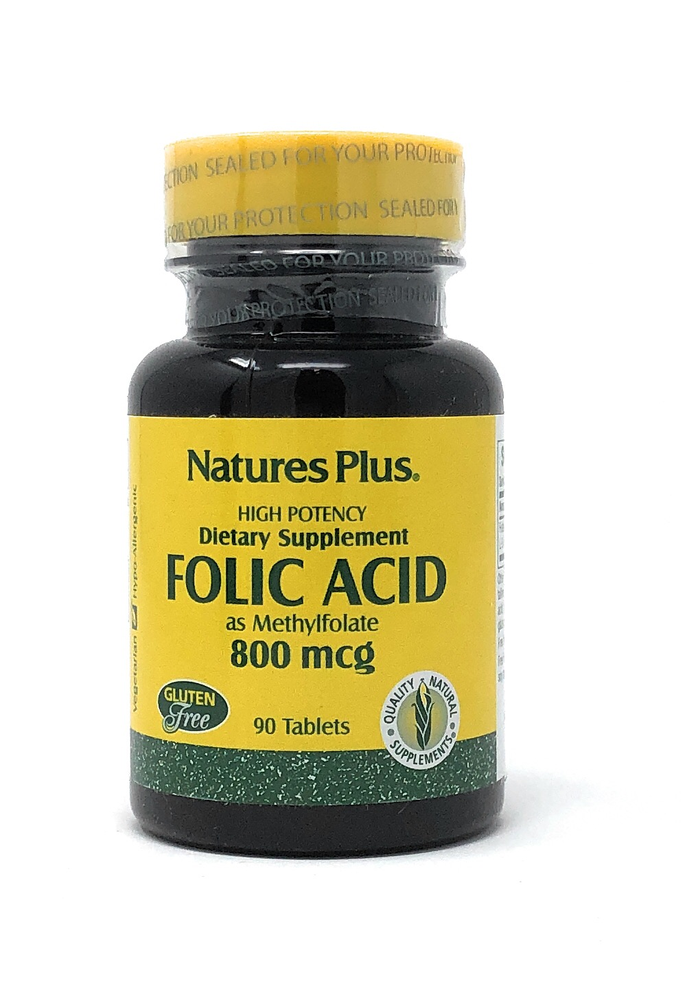 Natures Plus Folic Acid as Methylfolate 800mcg (Folsäure) 90 Tabletten (vegan) (59,3g)