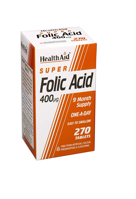 HealthAid Folic Acid 400mcg (Folsäure) 270 veg. Tabletten (vegan)