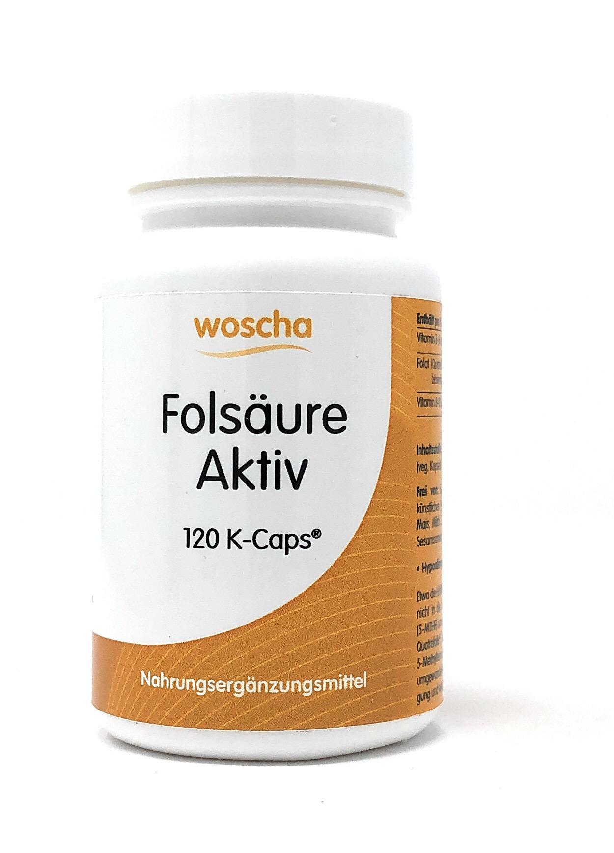 woscha Folsäure Aktiv 120 veg. K-CAPS® (27g) (vegan)