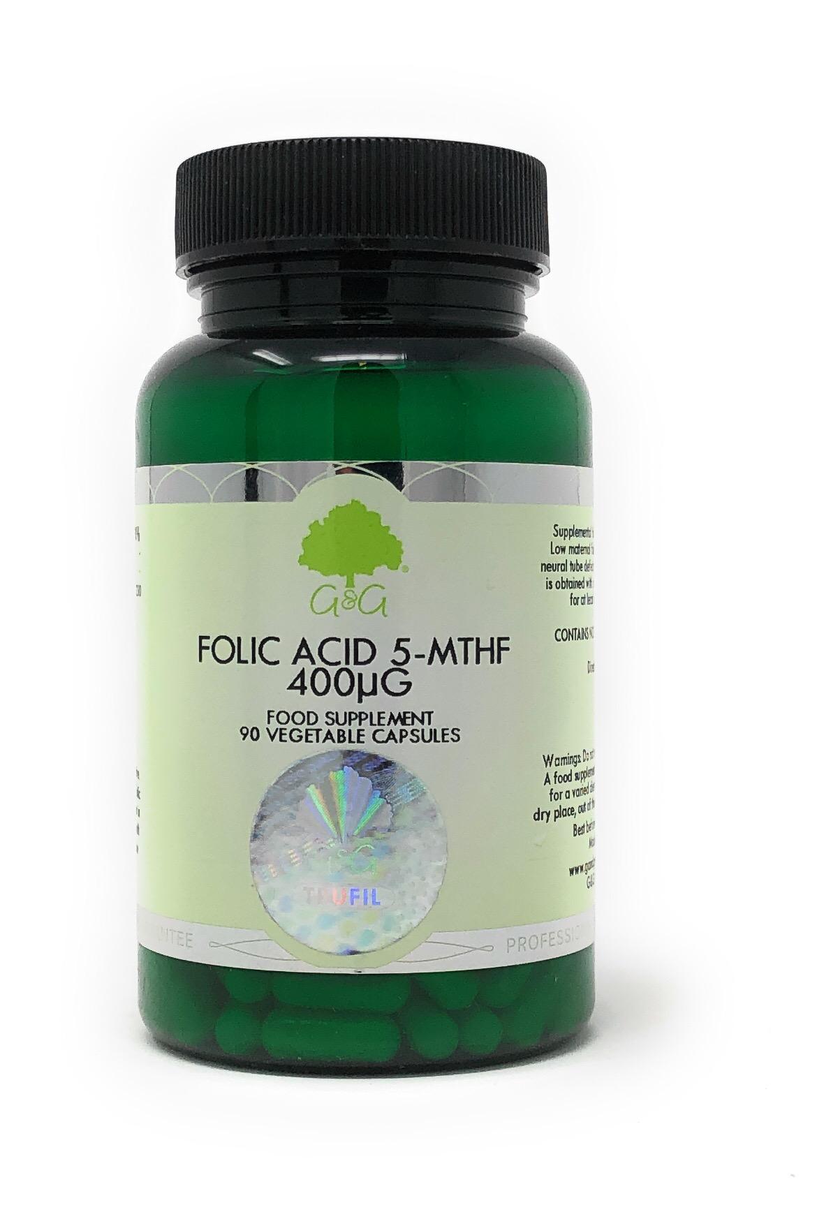 G&G Vitamins Folic Acid 5-MTHF 400mcg [Folat] 90 veg. Kapseln (vegan)(10,8g)